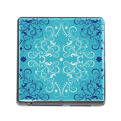 Flower Leaf Floral Love Heart Sunflower Rose Blue White Memory Card Reader (square) by Alisyart