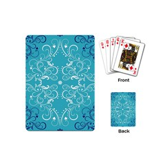Flower Leaf Floral Love Heart Sunflower Rose Blue White Playing Cards (mini)  by Alisyart