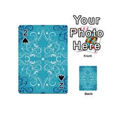 Flower Leaf Floral Love Heart Sunflower Rose Blue White Playing Cards 54 (mini)  by Alisyart