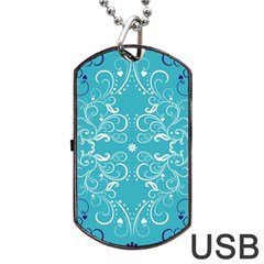 Flower Leaf Floral Love Heart Sunflower Rose Blue White Dog Tag Usb Flash (one Side) by Alisyart