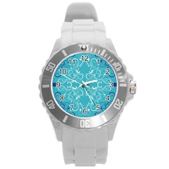 Flower Leaf Floral Love Heart Sunflower Rose Blue White Round Plastic Sport Watch (l) by Alisyart
