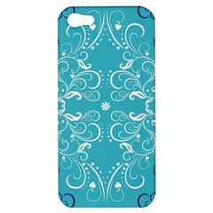 Flower Leaf Floral Love Heart Sunflower Rose Blue White Apple Iphone 5 Hardshell Case by Alisyart
