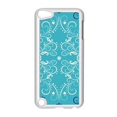 Flower Leaf Floral Love Heart Sunflower Rose Blue White Apple Ipod Touch 5 Case (white)
