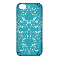Flower Leaf Floral Love Heart Sunflower Rose Blue White Apple Iphone 5c Hardshell Case by Alisyart