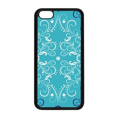 Flower Leaf Floral Love Heart Sunflower Rose Blue White Apple Iphone 5c Seamless Case (black) by Alisyart