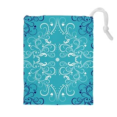 Flower Leaf Floral Love Heart Sunflower Rose Blue White Drawstring Pouches (extra Large)