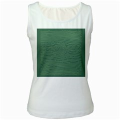 Illustration Green Grains Line Women s White Tank Top
