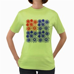 Flower Floral Smile Face Red Blue Sunflower Women s Green T Shirt