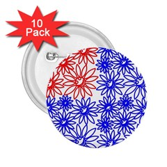 Flower Floral Smile Face Red Blue Sunflower 2 25  Buttons (10 Pack)  by Alisyart