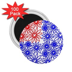 Flower Floral Smile Face Red Blue Sunflower 2 25  Magnets (100 Pack)  by Alisyart