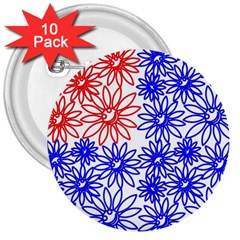 Flower Floral Smile Face Red Blue Sunflower 3  Buttons (10 Pack)  by Alisyart