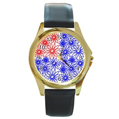 Flower Floral Smile Face Red Blue Sunflower Round Gold Metal Watch