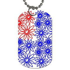 Flower Floral Smile Face Red Blue Sunflower Dog Tag (one Side)
