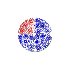 Flower Floral Smile Face Red Blue Sunflower Golf Ball Marker (10 Pack) by Alisyart