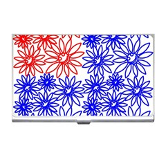 Flower Floral Smile Face Red Blue Sunflower Business Card Holders by Alisyart