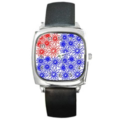 Flower Floral Smile Face Red Blue Sunflower Square Metal Watch by Alisyart