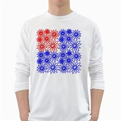 Flower Floral Smile Face Red Blue Sunflower White Long Sleeve T Shirts by Alisyart