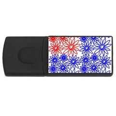 Flower Floral Smile Face Red Blue Sunflower Usb Flash Drive Rectangular (4 Gb) by Alisyart