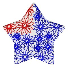 Flower Floral Smile Face Red Blue Sunflower Star Ornament (two Sides)