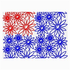 Flower Floral Smile Face Red Blue Sunflower Large Glasses Cloth (2 Side) by Alisyart