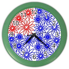 Flower Floral Smile Face Red Blue Sunflower Color Wall Clocks