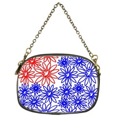 Flower Floral Smile Face Red Blue Sunflower Chain Purses (one Side)