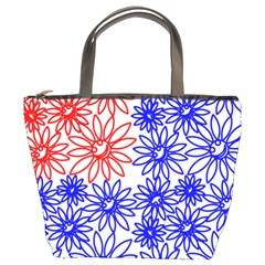 Flower Floral Smile Face Red Blue Sunflower Bucket Bags by Alisyart