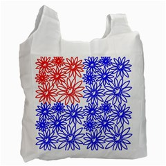 Flower Floral Smile Face Red Blue Sunflower Recycle Bag (one Side) by Alisyart
