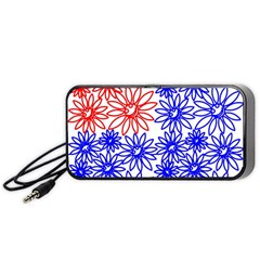 Flower Floral Smile Face Red Blue Sunflower Portable Speaker (black) by Alisyart