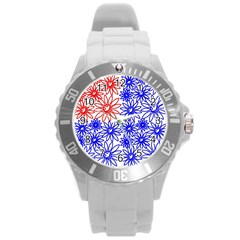 Flower Floral Smile Face Red Blue Sunflower Round Plastic Sport Watch (l) by Alisyart
