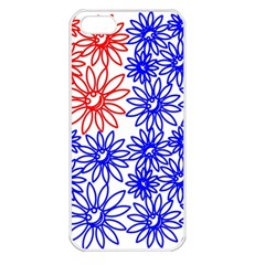Flower Floral Smile Face Red Blue Sunflower Apple Iphone 5 Seamless Case (white) by Alisyart