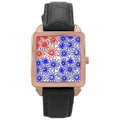 Flower Floral Smile Face Red Blue Sunflower Rose Gold Leather Watch