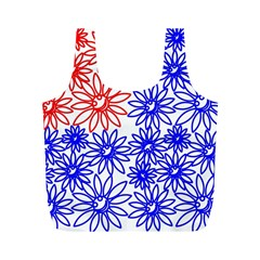 Flower Floral Smile Face Red Blue Sunflower Full Print Recycle Bags (m)  by Alisyart