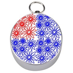 Flower Floral Smile Face Red Blue Sunflower Silver Compasses by Alisyart