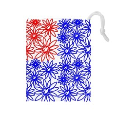 Flower Floral Smile Face Red Blue Sunflower Drawstring Pouches (large)