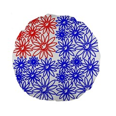 Flower Floral Smile Face Red Blue Sunflower Standard 15  Premium Flano Round Cushions by Alisyart
