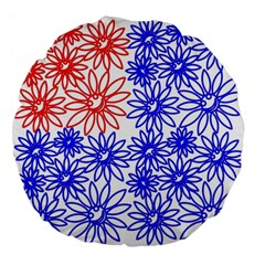 Flower Floral Smile Face Red Blue Sunflower Large 18  Premium Flano Round Cushions