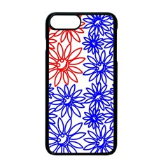 Flower Floral Smile Face Red Blue Sunflower Apple Iphone 7 Plus Seamless Case (black) by Alisyart