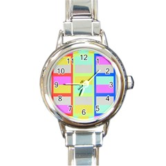Maximum Color Rainbow Red Blue Yellow Grey Pink Plaid Flag Round Italian Charm Watch by Alisyart