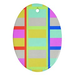 Maximum Color Rainbow Red Blue Yellow Grey Pink Plaid Flag Ornament (oval)