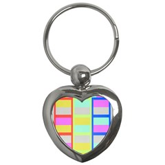 Maximum Color Rainbow Red Blue Yellow Grey Pink Plaid Flag Key Chains (heart)  by Alisyart