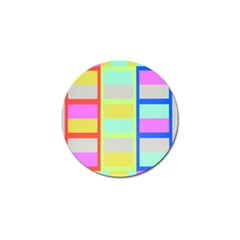 Maximum Color Rainbow Red Blue Yellow Grey Pink Plaid Flag Golf Ball Marker (4 Pack)