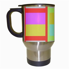 Maximum Color Rainbow Red Blue Yellow Grey Pink Plaid Flag Travel Mugs (white)