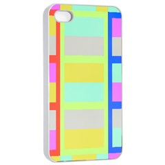 Maximum Color Rainbow Red Blue Yellow Grey Pink Plaid Flag Apple Iphone 4/4s Seamless Case (white)