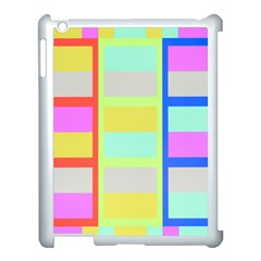 Maximum Color Rainbow Red Blue Yellow Grey Pink Plaid Flag Apple Ipad 3/4 Case (white)
