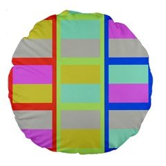 Maximum Color Rainbow Red Blue Yellow Grey Pink Plaid Flag Large 18  Premium Round Cushions by Alisyart