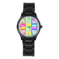 Maximum Color Rainbow Red Blue Yellow Grey Pink Plaid Flag Stainless Steel Round Watch by Alisyart