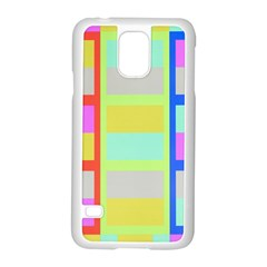 Maximum Color Rainbow Red Blue Yellow Grey Pink Plaid Flag Samsung Galaxy S5 Case (white)
