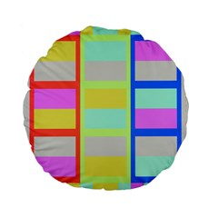 Maximum Color Rainbow Red Blue Yellow Grey Pink Plaid Flag Standard 15  Premium Flano Round Cushions