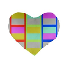 Maximum Color Rainbow Red Blue Yellow Grey Pink Plaid Flag Standard 16  Premium Flano Heart Shape Cushions
